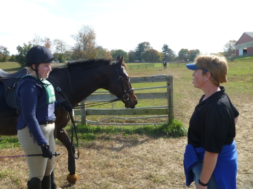 Colleen and Nina discussing Nina's first Novice cross-country round at Waredaca.